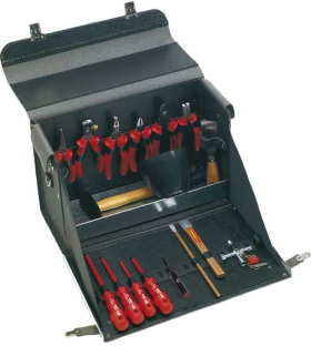 "VDE Leather Tool Case ""Starter"", 17 parts"